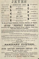 Advert For Jeye's Disinfectants reverse